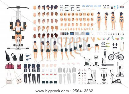 Sportswoman Or Fitness Girl Diy Kit. Set Of Woman's Body Parts, Postures, Sports Equipment, Exercise