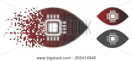 Artificial Vision Icon In Sparkle, Dotted Halftone And Undamaged Whole Versions. Pieces Are Arranged