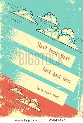 Cloudy Sky Background For Text On Old Vintage Paper