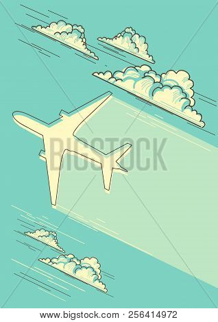 Cloudy Blue Sky Background With Airplane For Text
