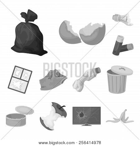 Garbage And Waste Monochrome Icons In Set Collection For Design. Cleaning Garbage Vector Symbol Stoc