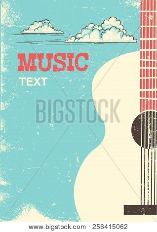 Music Festival Background With Musical Instrument Acoustic Guitar For Text.