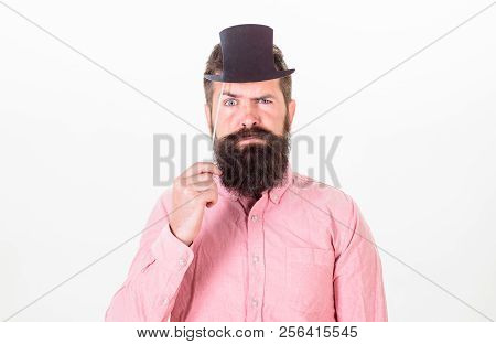 Guaranteed Ways Appear Smarter Than You Are. Man Bearded Hipster Hold Cardboard Top Hat To Look Smar