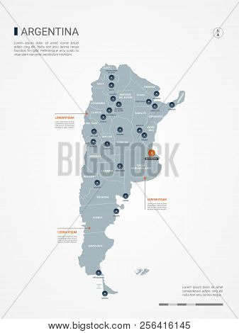 Argentina Map With Borders, Cities, Capital And Administrative Divisions. Infographic Vector Map. Ed