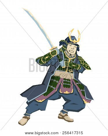 Japanese Samurai Warrior With Katana Sward In Fighting Position. Vector Illustration. Flat Style, Is
