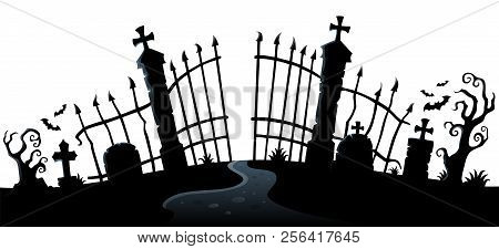 Cemetery Gate Silhouette Theme 2 - Eps10 Vector Picture Illustration.