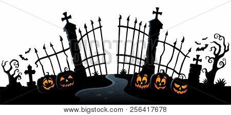 Cemetery Gate Silhouette Theme 3 - Eps10 Vector Picture Illustration.