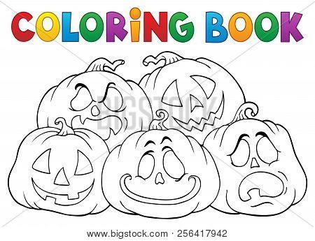 Coloring Book Halloween Pumpkins Pile 1 - Eps10 Vector Picture Illustration.