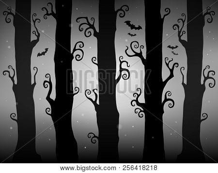 Halloween Forest Theme Image 2 - Eps10 Vector Picture Illustration.