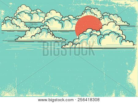 Cloudy Blue Sky Background With Red Sun.vector Nature Illustration On Old Paper Texture