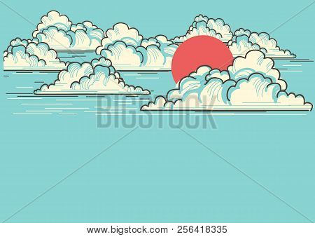 Cloudy Blue Sky Background With Red Sun.vector Nature Illustration