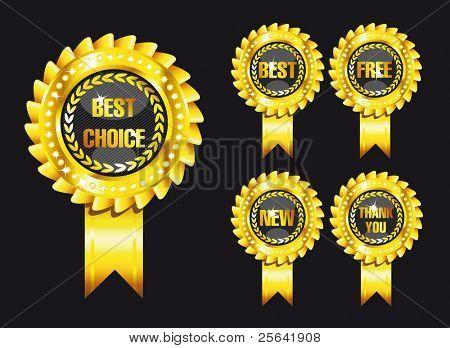 set of black award labels isolated over black background