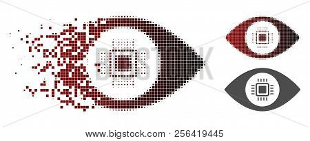 Electronic Vision Lens Icon In Dispersed, Dotted Halftone And Undamaged Whole Versions. Pieces Are G