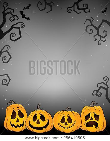Halloween Pumpkins Thematics Image 3 - Eps10 Vector Picture Illustration.
