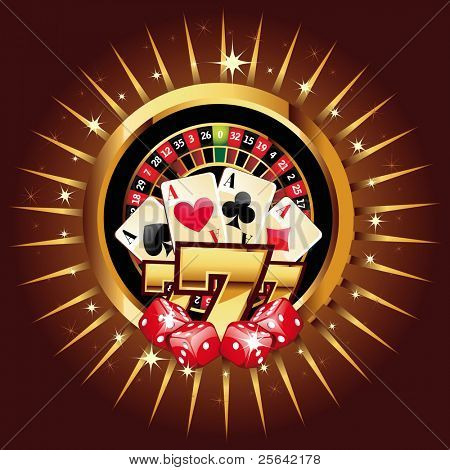 casino gold-framed composition with roulette wheel
