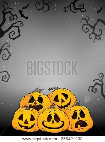 Pile Of Halloween Pumpkins Theme 2 - Eps10 Vector Picture Illustration.