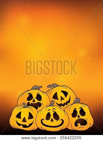 Pile Of Halloween Pumpkins Theme 4 - Eps10 Vector Picture Illustration.