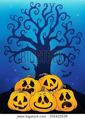 Pile Of Halloween Pumpkins Theme 6 - Eps10 Vector Picture Illustration.