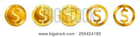 Vector Money Dollar Sign (dollar Coin Icon) Isolated On White Background. Golden Usd Coin Symbol Des