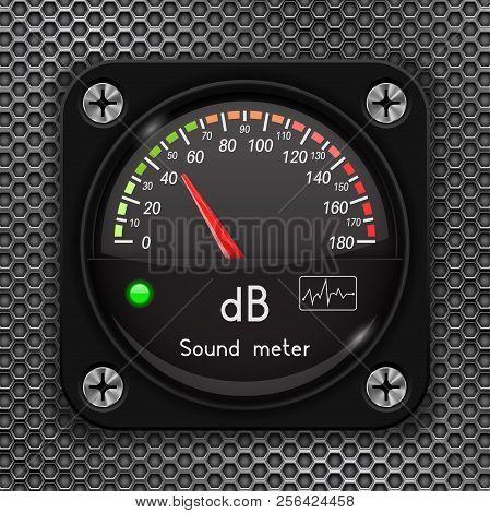 Volume Unit Meter. Decibel Gauge. Sound Audio Equipment On Metal Perforated Background. Vector 3d Il