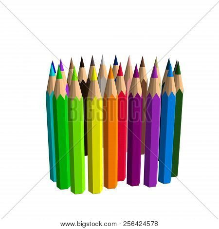 Color Pencils. Isolated On White Background. Vector Colorful Illustration.