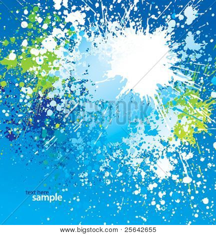 Background with white spots and sprays on blue. Vector illustration.