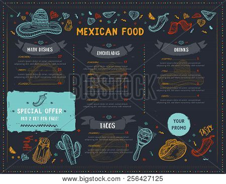 Mexican Food Restaurant Menu, Template Design With Sketch Icons Of Chili Pepper, Sombrero, Tacos, Na