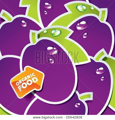 Background from plums with an arrow by organic food. Vector illustration.