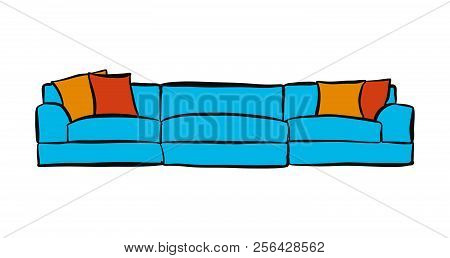Comfortable Couch With Three Parts. Hand-drawn Vector Sketch. Business Concept Design.