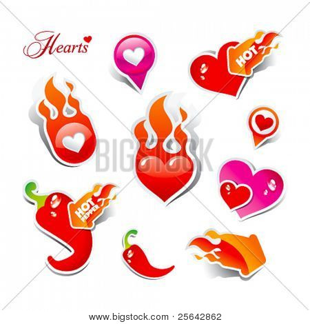 Set of stickers and icons of flaming hearts and hot chili peppers, for themes like love, Valentine's day, holidays. Vector illustration.