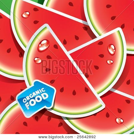Background from watermelon slices with an arrow by organic food. Vector illustration.