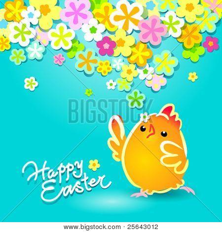 Osterkarte mit einem lustigen Huhn auf blauem Hintergrund mit Blumen. Vektor-Illustration.