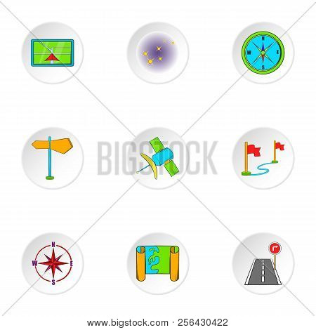 Find Way Icons Set. Cartoon Illustration Of 9 Find Way Icons For Web