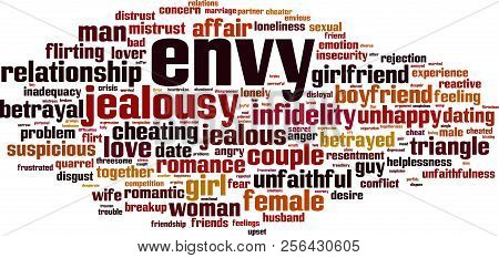 Envy Word Cloud Concept. Vector Illustration On White