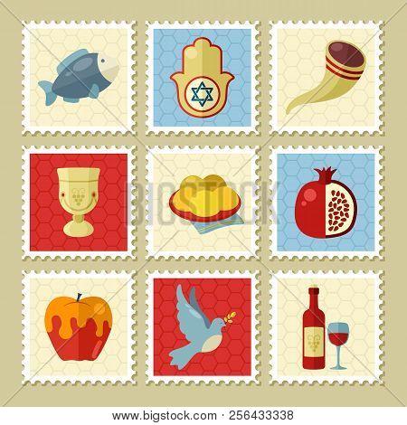Rosh Hashanah Stamp. Shana Tova. Happy And Sweet New Year In Hebrew