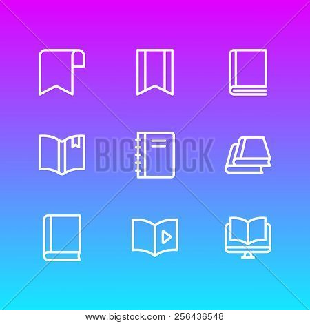 Illustration Of 9 Education Icons Line Style. Editable Set Of Tutorial, Library, Ebook And Other Ico