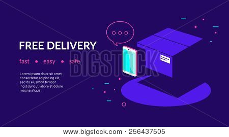 Mobile App For Free Delivery And Online Payments By Credit Card. Flat Vector Neon Website Template A