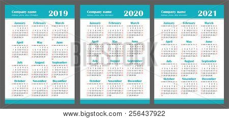 calendar 2019 2020 2021 years color vector set week starts on sunday
