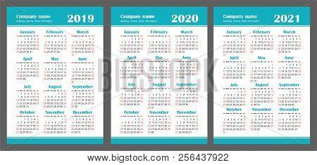 calendar 2019 2020 2021 years color vector set week starts on sunday