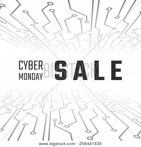 Cyber Monday Sale Technology Banner. Cyber Monday Promotion On Abstract Circuit Backgroun. Vector Il