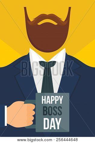 Boss Day Vertical Banner. Flat Illustration Of Vector Boss Day Vertical Banner For Web Design
