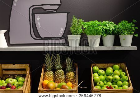 Fresh Fruits And Spices On Shelf With Illustration On Dark Wall
