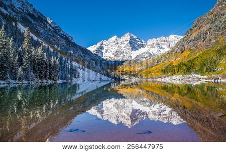 Maroon Bells In Fall Foliage After Snow Storm In Aspen,  Colorado.