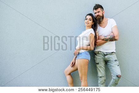 Couple Stylish Youth. Couple White Shirt Cuddle Each Other. Hipster Bearded And Stylish Girl Hang Ou