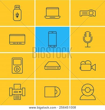 Vector Illustration Of 12 Gadget Icons Line Style. Editable Set Of Printer, Microphone, Tablet Phone