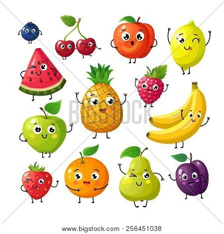 Cartoon Funny Fruits. Happy Kiwi Banana Raspberry Orange Cherry With Face. Summer Fruit And Berry Ve