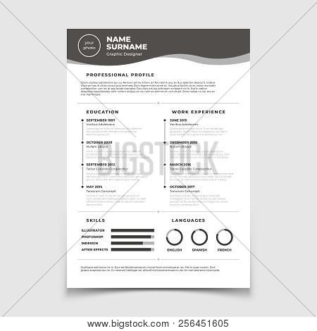 Cv Resume. Document For Employment Interview. Vector Business Design Template. Resume For Interview