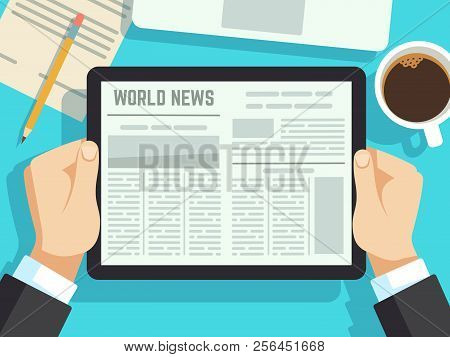 Businessman Reading News On On Table. Online Newspaper, Daily Magazines. Business News At Breakfast