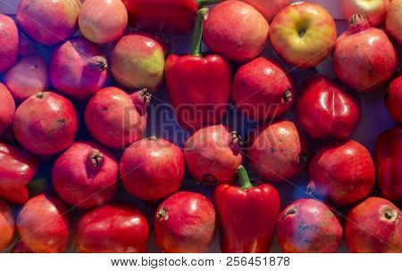 Red Pomegranates And Apples Background Pattern Image