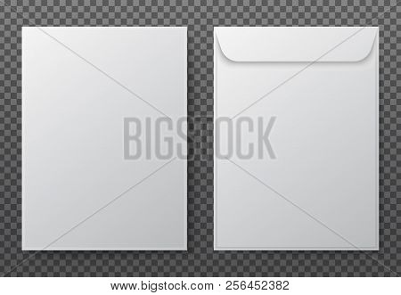 Envelope A4. Paper White Blank Letter Envelopes For Vertical Document. Vector Mockup Isolated On Tra
